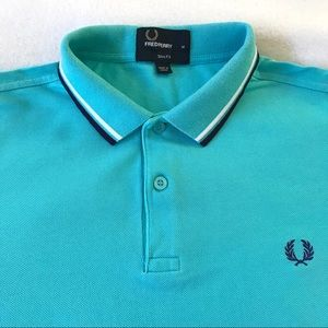 Fred Perry Men's Slim Fit Blue Polo Shirt